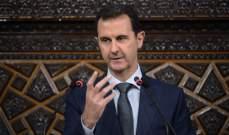 الاسد أكد العمل والتعاون مع إيران بما يعزز أمن واستقرار البلدين