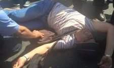 """سيارة صدمت مصور """"السفير"""" اثناء تغطيته مسيرة الاساتذة المتعاقدين الى عين التينة"""