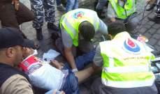 جريح نتيجة حادث صدم في الرحاب والدفاع المدني عمل على إسعافه