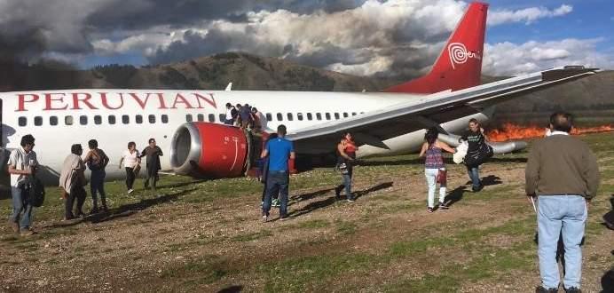 تحطم طائرة ركاب على مدرج مطار في بيرو ونجاة جميع ركابها