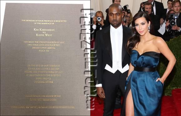 النشرة الفنية - هذه هي بطاقة دعوة زفاف كيم كارداشيان ...