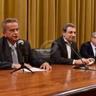 مؤتمر صحفي مشترك بين حاكم مصرف لبنان ووزير الصناعة ورئيس جمعية الصناعيين- محمد سلمان