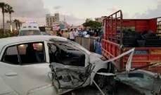 النشرة: جريح بحادث سير على الاوتوستراد الشرقي لمدينة صيدا