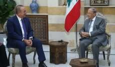 الرئيس عون بعد لقائه اوغلو: علامات استفهام حول استمرار تجاهل المجتمع الدولي لعودة النازحين