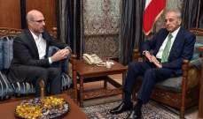 بري التقى مسؤول بريطاني ولازاريني وسفيرة فنلندا الجديدة