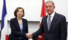وزيرا دفاع تركيا وفرنسا بحثا بالتعاون العسكري بين البلدين وبملفي سوريا وليبيا