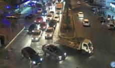 """قطع طريق كورنيش المزرعة بالاطارات المشتعلة من قبل انصار تيار """"المستقبل"""""""