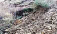 انهيار صخري في بشري جرف حقولا زراعية والحق اضرارا في مبنى لجنة جبران
