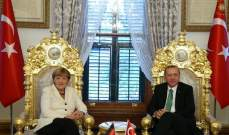 ميركل في اتصال مع أردوغان: قوة الاقتصاد التركي مهم بالنسبة لألمانيا