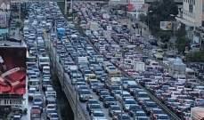 ازدحام سير على الاوتوستراد الساحلي باتجاه بيروت والسيارات متوقفة منذ ساعات