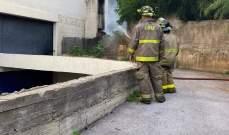 إخماد حريق أسلاك كهربائية على جدران أحد مباني الجامعة اللبنانية في الفنار