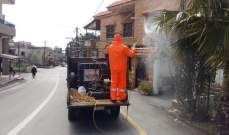 النشرة: عناصر من الدفاع المدني أطلقوا حملة تعقيم في منطقة العرقوب