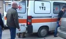 الدفاع المدني: جريح جراء حادث سير في العقيدية في بعلبك