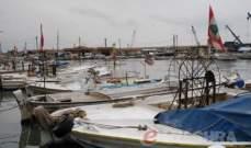 توقف حركة الملاحة وصيد الاسماك في ميناء صيدا جراء العاصفة