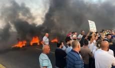 قطع السير على اوتوستراد البربارة المسلك الغربي من قبل بعض المحتجين