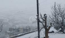 النشرة: إشتداد وطأة العاصفة في حاصبيا وتساقط للثلوج على ارتفاع 1200متر