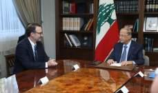الرئيس عون عرض مع شينكر التطورات الاخيرة