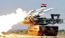 الدفاعات الجوية السورية اسقطت صواريخ يرجح انها اسرائيلية قرب مطار دمشق