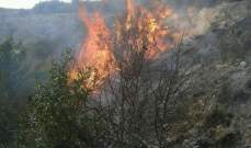 حريق هائل في الوادي الممتد بين بلدتي معروب وباريش