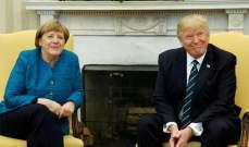 """ترامب وميركل بحثا هاتفيا بقضايا التجارة وتمويل حلف شمال الأطلسي و""""بريكست"""""""