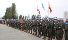 احتفال عسكري لتقليد بعثة اليونيفيل الى اللواء الاسباني الاوسمة