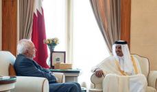 ظريف سلّم أمير قطر رسالة خطية من روحاني تتعلق بالعلاقات الثنائية وعدد من القضايا