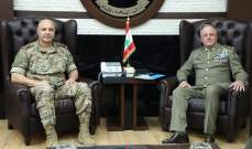 قائد الجيش التقى قائد اليونيفيل وبحث معه الاوضاع على الحدود الجنوبية