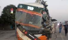 مقتل 11 شخصاً واصابة 28 آخرين اثر اصطدام حافلة ركاب بمقطورة في باكستان