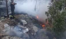 حريق أعشاب بكفرحزير وآخر امتد ليطال بؤرة معمل للأقفاص البلاستيكية في قب الياس