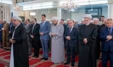 بشار الاسد يؤدي صلاة عيد الاضحى بجامع الافرم بدمشق