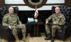 قائد الجيش التقى قائد اليونيفل وبحث معه المستجدات على خط الإنسحاب