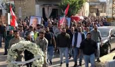 تشييع جثمان حسين شلهوب في بلدته طير فلسيه