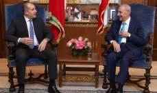 بري: تناولت مع الرئيس البلغاري الازمة الناتجة عن قضية النازحين والعلاقات الثنائية