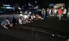 وقفة تضامنية لمحتجين بصيدا مع محتجي بيروت وقطع الطريق عند تقاطع ايليا
