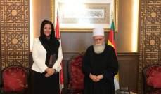 الشيخ حسن التقى سفيرة النروج: لمؤازرة المعنيين لتفادي المزيد من خسائر الحرائق