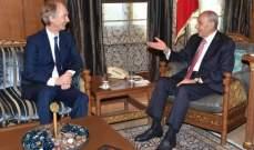بري لبيدرسون: هناك مصلحة للبنان وسوريا لعودة النازحين بأسرع وقت ممكن