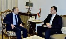 باسيل التقى فارنو: لعدم تدخل أي فريق خارجي على خط الأزمة اللبنانية