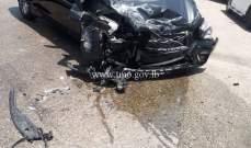 8 جرحى نتيجة تصادم بين مركبتين على طريق عام بحمدون صوفر