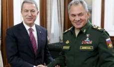 الدفاع التركية: أكار بحث مع شويغو الموقف في إدلب وعودة مليون نازح إلى منازلهم