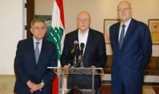 ميقاتي والسنيورة وسلام: نشدد على موقفنا الأساسي باعادة تسمية الحريري لتشكيل الحكومة الجديدة
