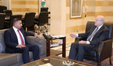 ميقاتي بحث مع البراك بملف المساعدات النفطية العراقية للبنان والتنسيق بين البلدين
