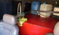 ضبط حوالى 800 ليتر من المازوت في داخل سيّارة رباعية الدّفع عند حاجز ضهر البيدر