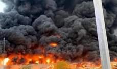 حريق كبير في سوق بإمارة عجمان بالإمارات