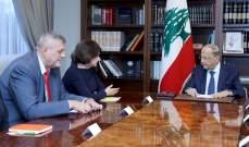 الرئيس عون: لبنان يأمل الا تكون للتطورات على الحدود السورية -التركية تداعيات على وحدة سوريا