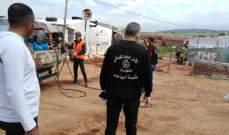 الحزب القومي وبلدية الوزاني يعقمان مخيمات باشراف الأمن العام