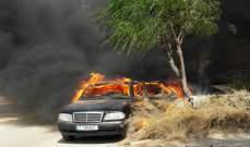 احتراق سيارة عند مفترق حلبا- الجومة يؤدي الى زحمة سير خانقة