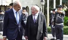 بري امام رئيس ايرلندا: قوات اليونيفيل يمثلون شهوداً على عدوانية اسرائيل