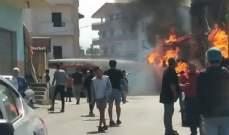 انفجار داخل محل لبيع قوارير الغاز في الغازية والاضرار مادية