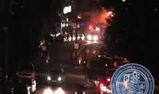 قطع الطريق من ساحة ساسين باتجاه السيدة بسبب حريق في احدى المباني