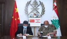 توقيع بروتوكول هبة مقدّمة من سلطات الصين إلى الجيش اللبناني للوقاية من كورونا